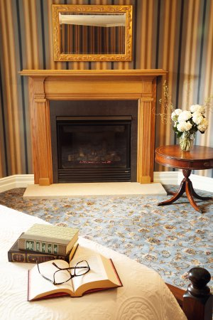 Red Wing, MN: Fireplace in Queen of the Mississippi Suite