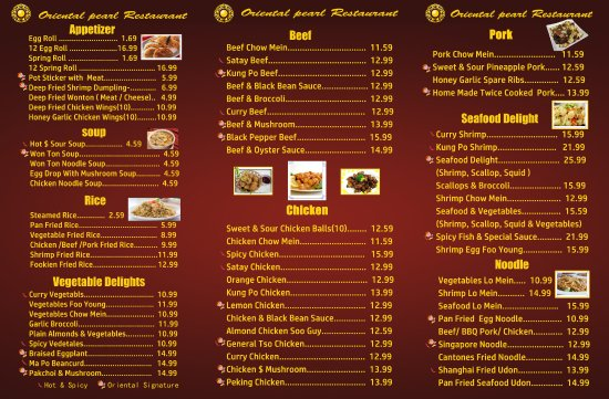 Take out menu 2016 picture of oriental pearl for Take out menu