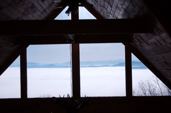 Mineral Bluff, GA: view from Heaven cabin from SCCR we rented, morning fog rising, mountain views from nearly all r