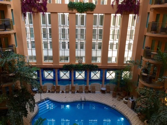 Hotel Palace Royal: View of pool from a higher floor.