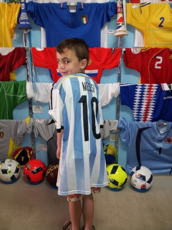 cef132fda7b Greek National Football Museum: Messi's 'actual' shirt fits our 7 year old!