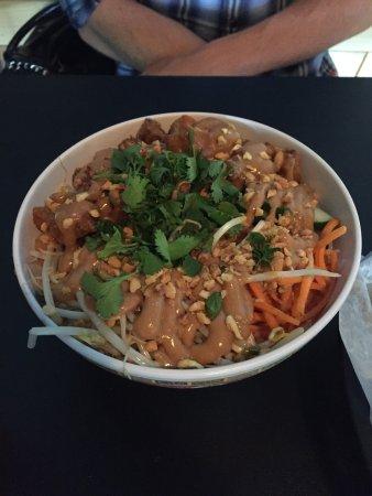 Granville, OH: Fried pork belly noodle bowl