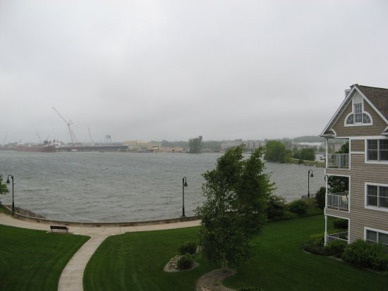 Bridgeport Resort: View from room 319 on a cloudy, misty day.