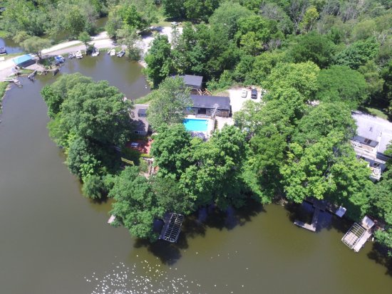 Monticello, IN: Aerial from lake