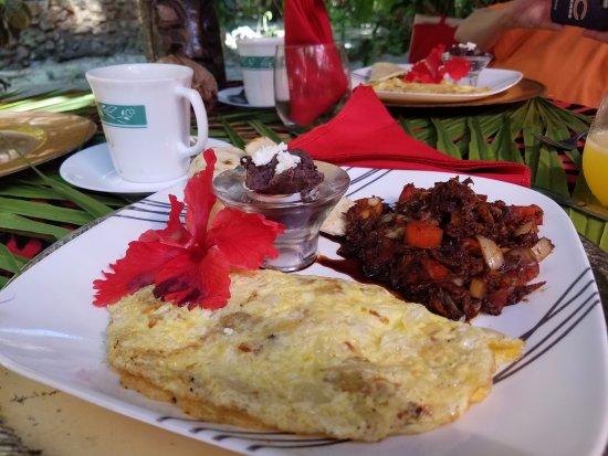 Maruba Resort Jungle Spa: Breakfast - conch omelette and wonderful herring