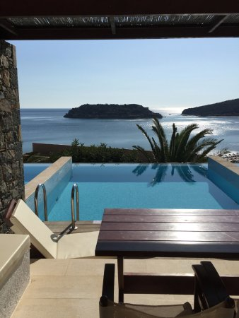 Blue Palace, a Luxury Collection Resort & Spa: View of the private deck and pool from inside our room