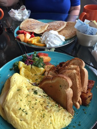 Kool Bean Bistro: This was our breakfast. An omelette and pancakes. We were on the porch which is a great place to