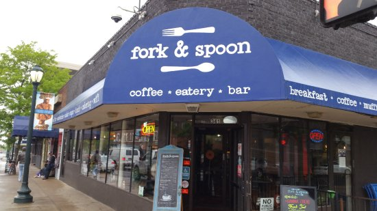 Bright canopy, easy to spot - Picture of Fork & Spoon