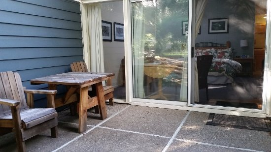 private patio outside sliding glass door entry to the seal room 12