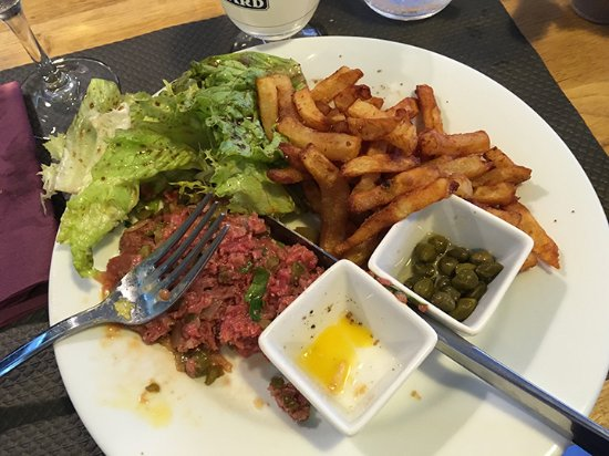 "Classic Steak Tartare with ""frites?"" Fine by me...I was hungry, and..."