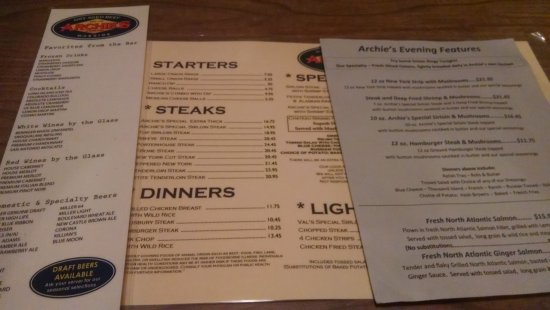 Le Mars, IA: Menu taken June 23, 2016