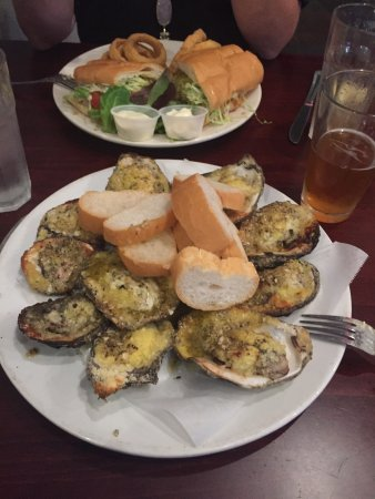 Katie S Restaurant Bar Chargrilled Oysters Shrimp Poboy And Crawfish Beignet