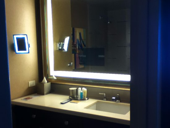 Bathroom Mirror Magnifying awesome lighted magnifying mirror and built in tv in bathroom
