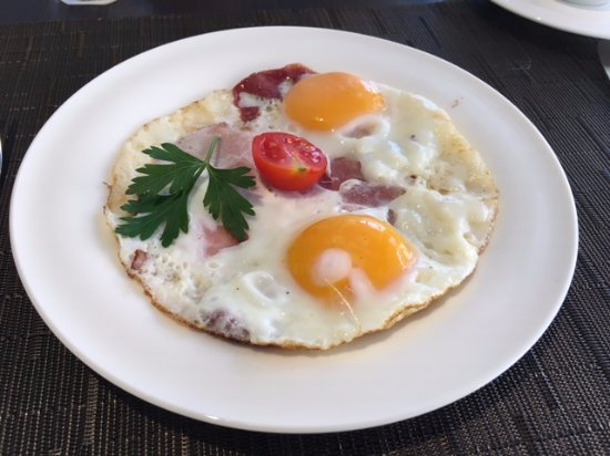 Serbian Style Fried Eggs With Ham Or Pancetta Picture Of