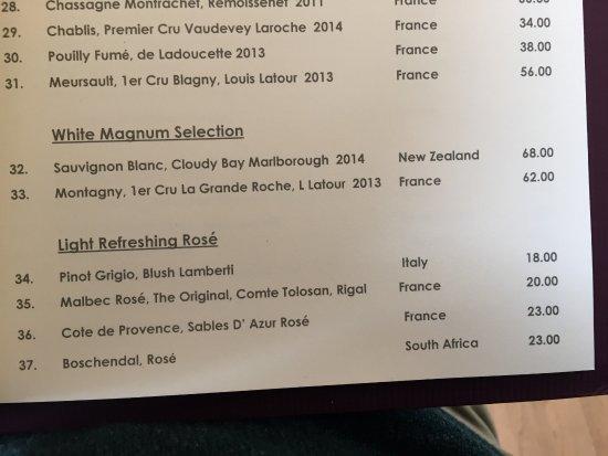 L'Auberge: carte des vins