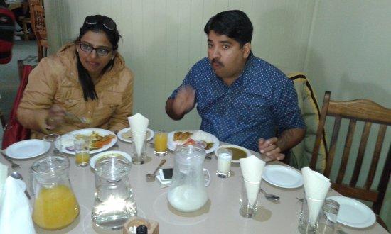 Safari Ostrich Show Farm : Dr. Manish Dev and wife, attorney Manisha Dev from Jaipur India having lunch.