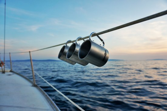 Δαλματία, Κροατία: Wine cups that clip on to the boat, genius!
