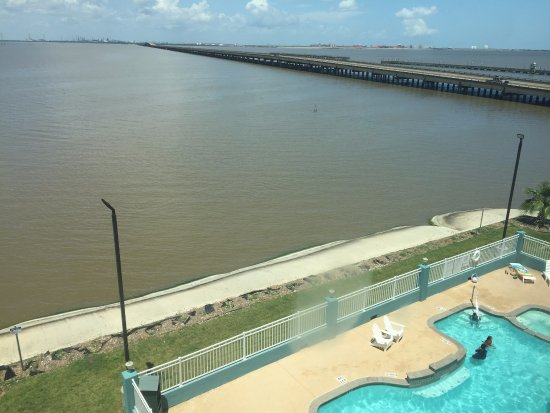 Port Lavaca, TX: Lighthouse Beach fish pier visible on other side of causeway.
