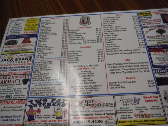 Front Royal, VA: Menu