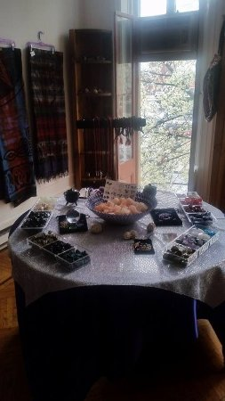 Table full of goodies - Picture of Chakra Shop & Tarot, Lewisburg