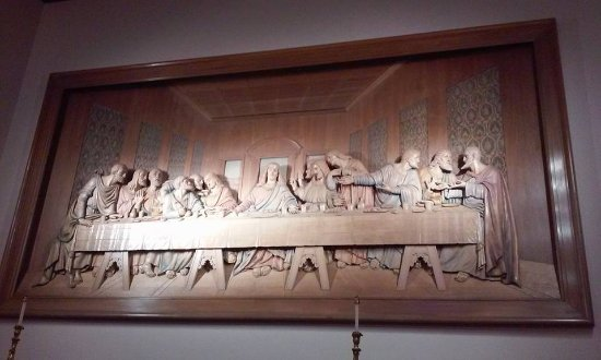 Hand carved wood jesus last supper large plaque wall hanging