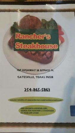Gatesville, TX: Menu front