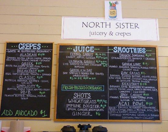 Homeport Eatery: Crepe, juice, smoothie menu