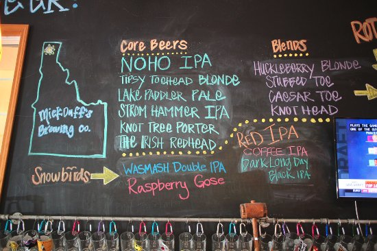 MickDuff's Brewing Company: the beer board