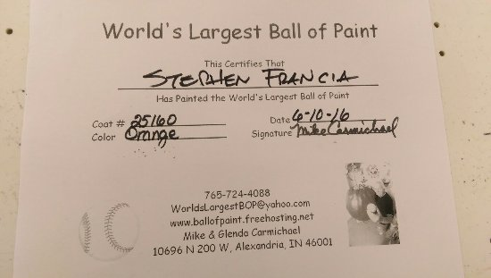 Alexandria, IN: World's Largest Ball of Paint