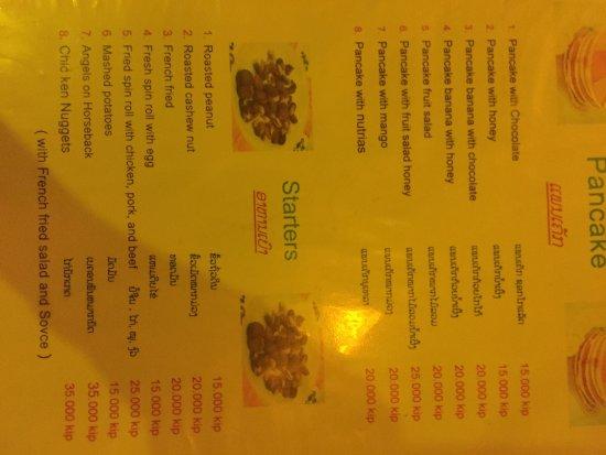 Don Khone, Laos: Lao Long menu