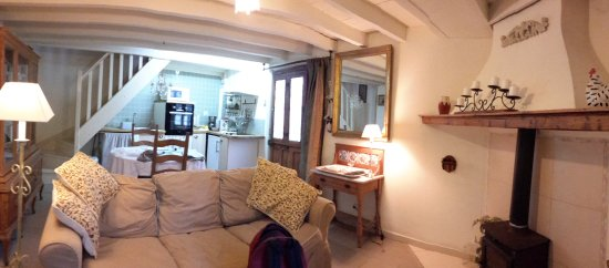 Alaigne, Francia: Downstairs living room/kitchen in the cottage