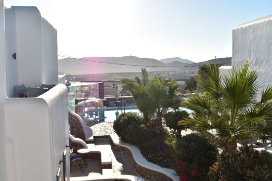 The A Hotel by Mykonos Arhontiko: Room view overlooking pool and dining
