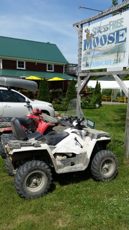 Stress Free Moose Pub & Cafe : Outside - ATV & Snowmobilers are WELCOME