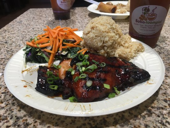 Boba loompia filipino restaurant 3979 university blvd for What sides go with barbecue chicken