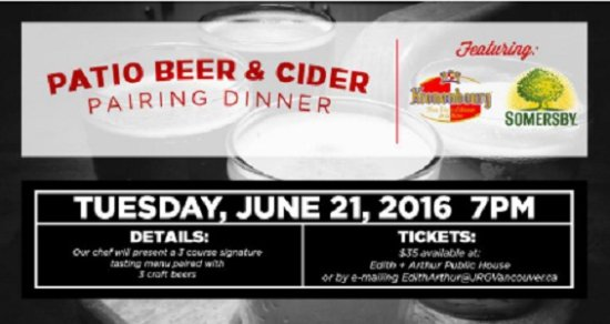 Surrey, Canada: June 21st, 2016 – Edith + Arthur Presents The Somersby / Kronenbourg Pairing Dinner!