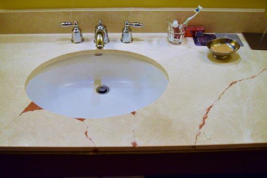 Renaissance Denver Stapleton Hotel Bathroom Vanity Broken In 4 Places Shoddy Repair With Red