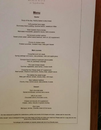 Strathaven, UK: new menu at the stables restaurant
