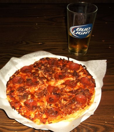 Pizza of the gods: Pepperoni and bacon.