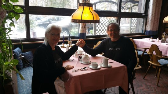 Hotel Kaiseralm: My husband and I enjoying lunch at the hotel dining room,