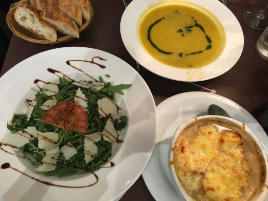 Au Saint Benoit: Creamy Vegetable Soup, Creamy Onion Soup and Arugula Salad
