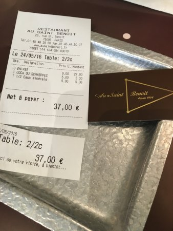Au Saint Benoit: Lunch Tab for 2 - 2 soups and one salad