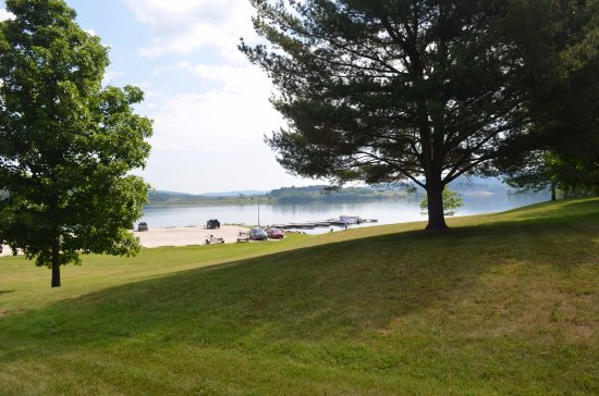 Tioga, PA: view of boat launch and some of the several slips