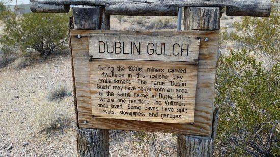 Shoshone, CA: Sign at the entrance to Dublin Gulch