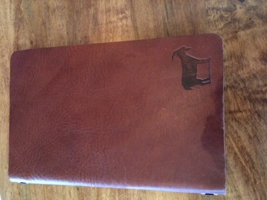 Murfreesboro, TN: Leather cover of the menu