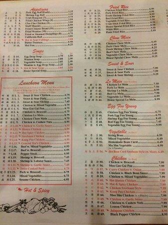 Carthage, TX: menu part 1