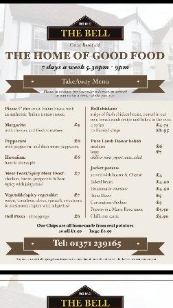 Great Bardfield, UK: The Bell takeaway menu