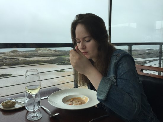 The Seafood Restaurant: Beautiful view - pity about the low clouds over the bay.