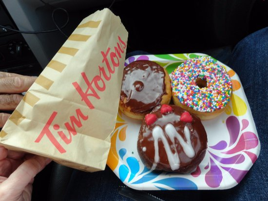 Tim Hortons: Our 3 selections we ate later while travelling. All fresh & delicious