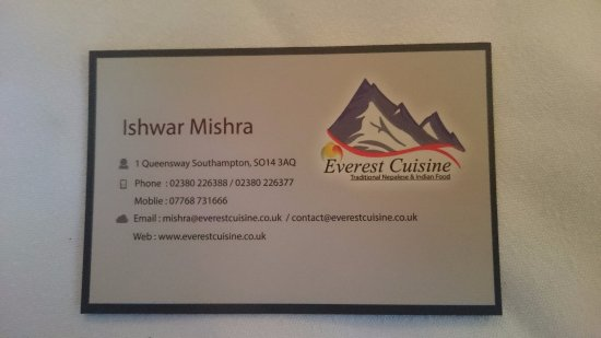 Business Card Of The Owner Picture Of Everest Cuisine Southampton
