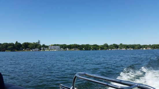 Shelbyville, MI: Photo of lakeside view of hotel from a rented pontoon boat
